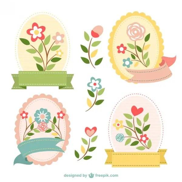 Flowers Badges Set Free Vector