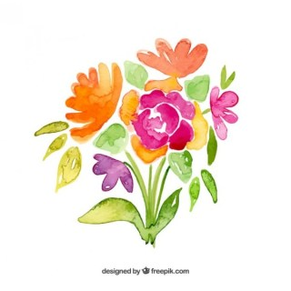 Flowers Bouquet in Watercolor Style Free Vector