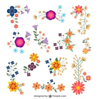 Flowers Design Elements Free Vector