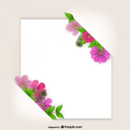 Flowers Frame On Paper Free Vector