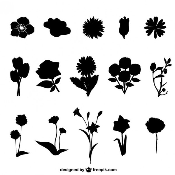 Flowers Silhouettes Free Vector