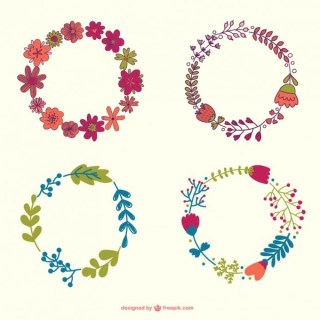 Flowers Wreath Hand-Drawn Collection Free Vector
