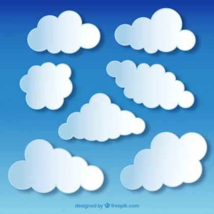 Fluffy White Clouds On Blue Sky Background Free Vector