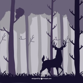 Forest Stag Illustration Free Vector