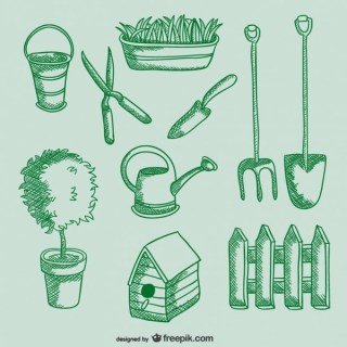 Gardening Tools Drawings Free Vector