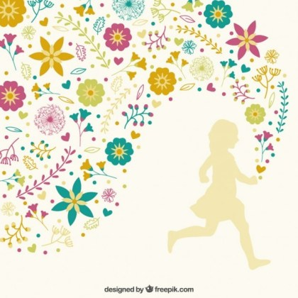 Girl Running with Floral Decoration Free Vector