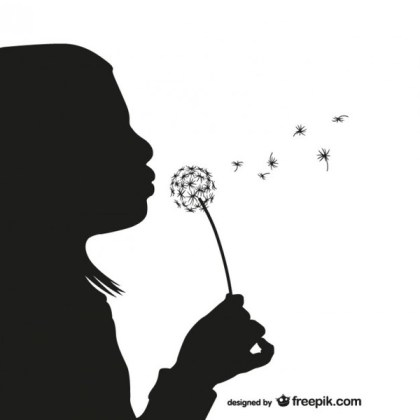Girl with Dandelion Silhouette Free Vector