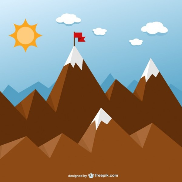 Goal Concept with Mountains Free Vector