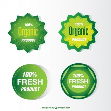Green Eco Stickers Free Vector