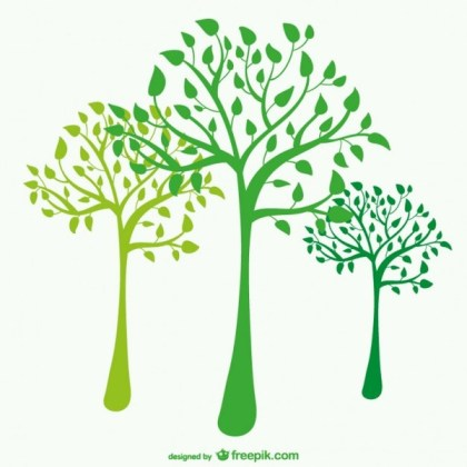 Green Tree Silhouettes Free Vector