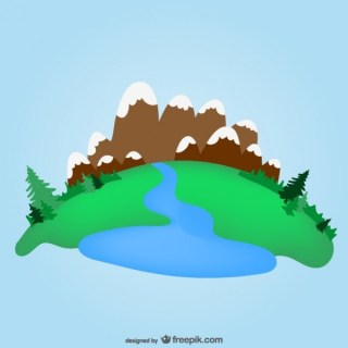 Green Valley and Mountains Template Free Vector