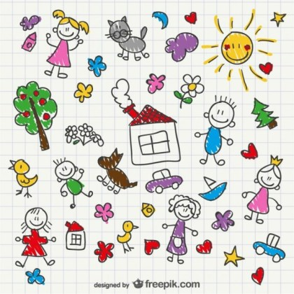 Hand Drawing Children Style Free Vector