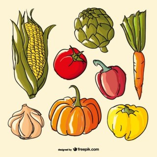 Hand Drawn Color Vegetables Free Vector