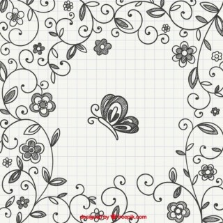 Hand Drawn Floral Ornaments with Butterfly Free Vector