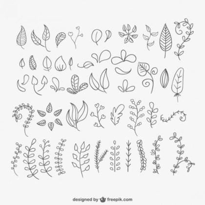 Hand Drawn Leaves Pack Free Vector