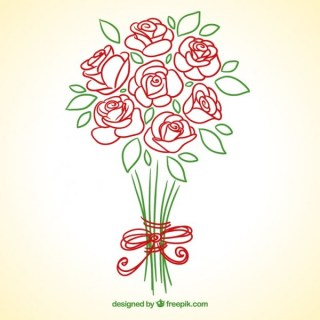 Hand Drawn Roses Bouquet Free Vector