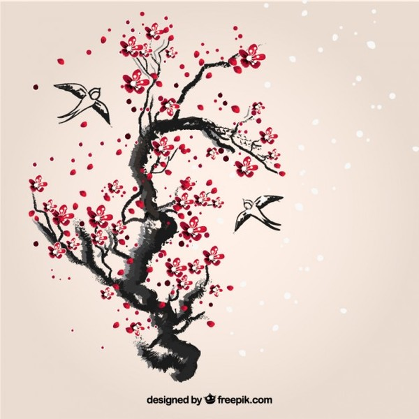 Hand Painted Cherry Tree Free Vector