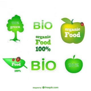 Healthy Eco Green Labels Free Vector