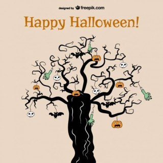 Horror Tree of Halloween Background Free Vector