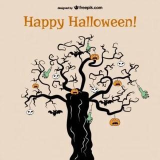 Horror Tree of Halloween Background Free Vector