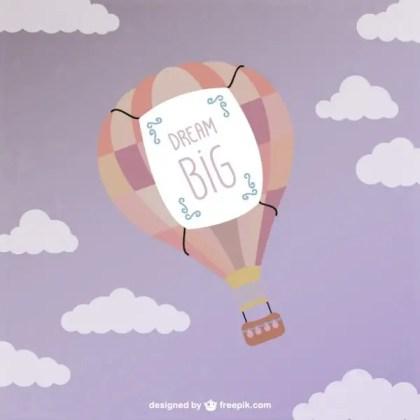 Hot Air Ballon Flying Free Vector