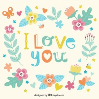 I Love You Floral Card Free Vector
