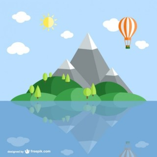 Island Landscape Cartoon Free Vector
