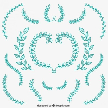 Isolated Floral Ornaments Free Vector