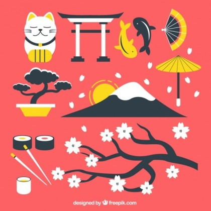 Japanese Culture Elements Free Vector