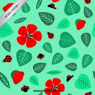 Lady Bugs and Flowers Pattern Free Vector