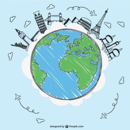 Landmarks of the Earth Free Vector
