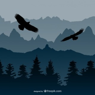 Landscape with Eagles Free Vector