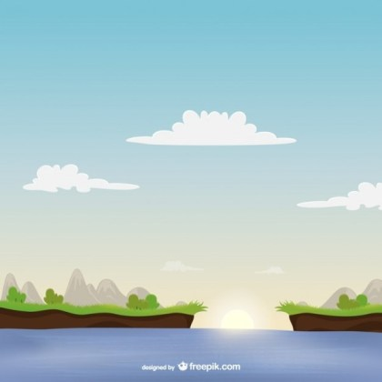 Landscape with Sea Free Vector