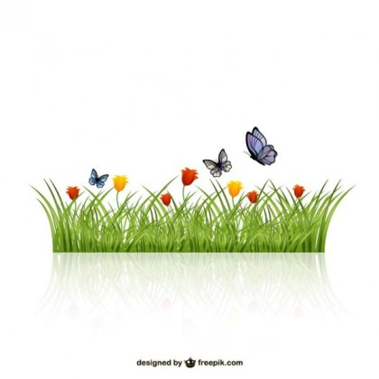 Leaves of Grass with Butterflies Free Vector