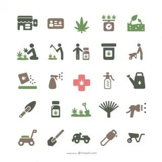Medicinal Marijuana and Gardening Icons Free Vector