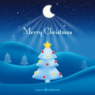 Merry Christmas with Moon Free Vector