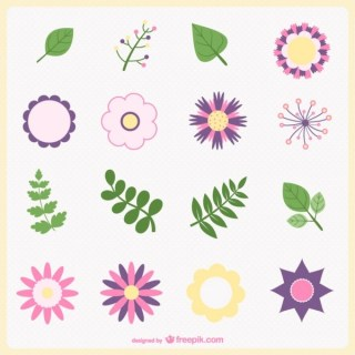 Minimal Flowers and Leaves Free Vector