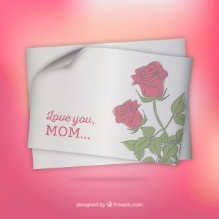 Mothers Day Card with Roses Free Vector