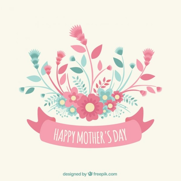 Mothers Day Greeting with Flowers Free Vector