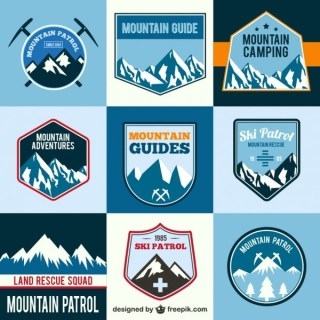 Mountain Adventure Labels Free Vector