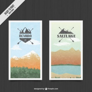Mountain Landscape Banners Free Vector