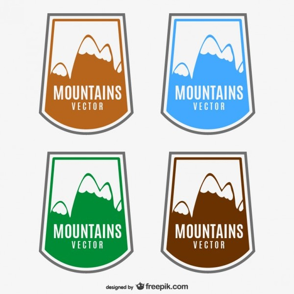 Mountains Labels Free Vector
