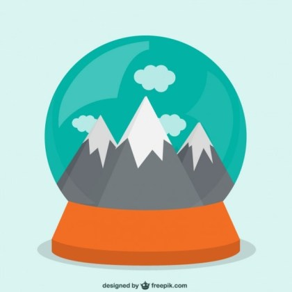 Mountain Inside A Snow Globe Free Vector