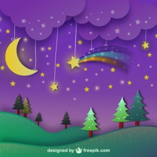 Night Landscape with Purple Sky Free Vector