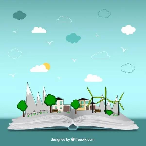 Open Book of Environment Free Vector