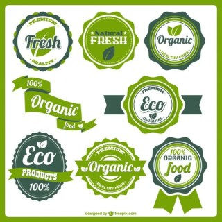 Organic Eco Food Labels Free Vector