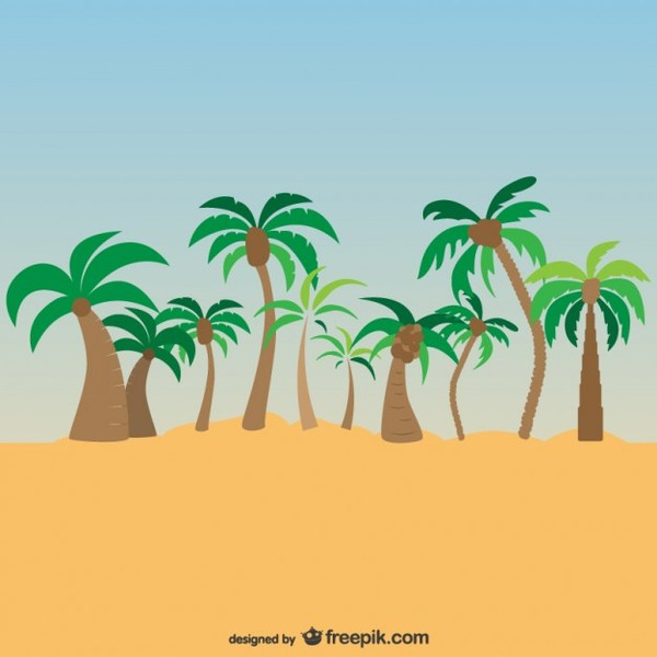 Palm Trees Exotic Landscape Free Vector