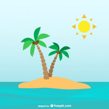 Palm Trees On Desert Island Free Vector