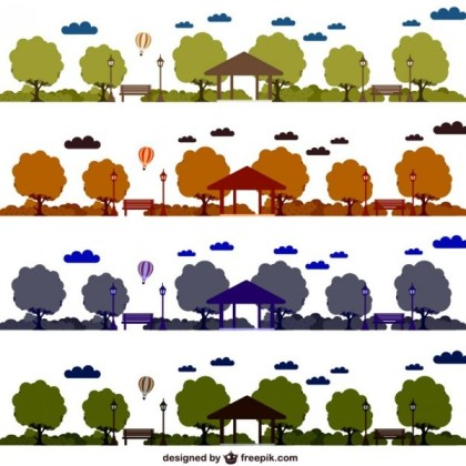 Park Skyline Set Free Vector