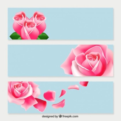 Pink Roses Banners Free Vector